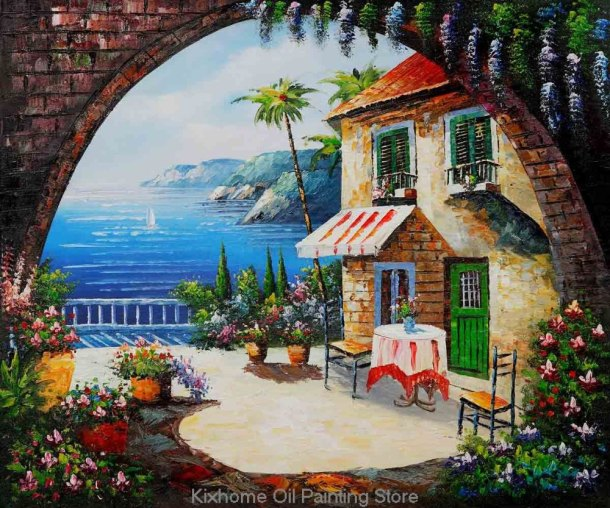 Mediterranean-Scenes-Cafe-At-Oceanside-oil-paintings-on-canvas-free-shipping-Gifts